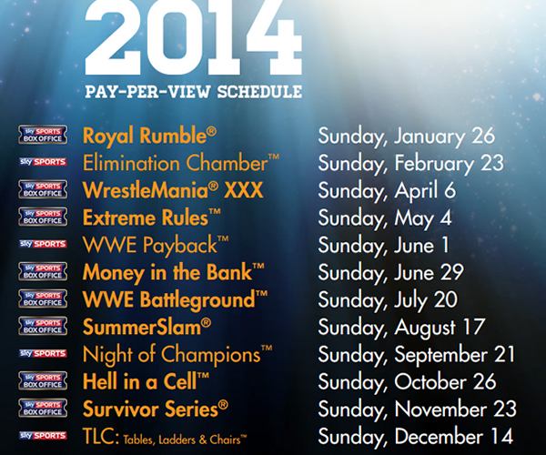 Wwe2014 2015 Pay Per View